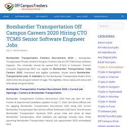 Bombardier Transportation Freshers Recruitment 2020 Hiring CTO TCMS Senior Software Engineer Jobs