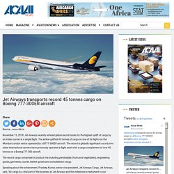 Jet Airways transports record 45 tonnes cargo on Boeing 777-300ER aircraft