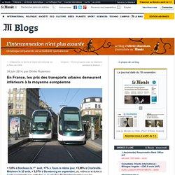 En France, les prix des transports urbains demeurent inférieurs à la moyenne européenne