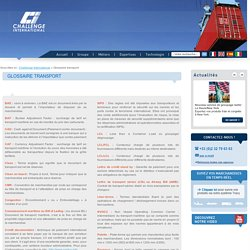 Glossaire technique pour le secteur des transports et de la logistique