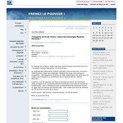 Transports en Ile de France : Assez de mensonges Madame Pécresse