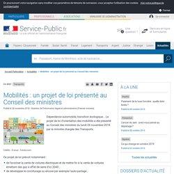 Transports -Mobilités: un projet de loi présenté au Conseil des ministres