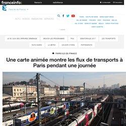 Une carte animée montre les flux de transports à Paris pendant une journée