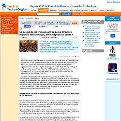 2012/09 Projet de loi transposant la 2ème directive monnaie électronique, e