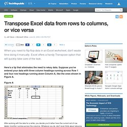 Transpose Excel data from rows to columns, or vice versa