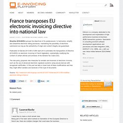 France transposes EU electronic invoicing directive into national law - E-invoicing Platform