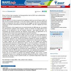 Pour la Cour des comptes, la transposition de la LOLF aux collectivités locales apparaît «souhaitable»- Maire-info / AMF