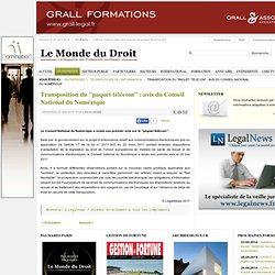 """Transposition du """"paquet télécom"""" : avis du Conseil National du Numérique"""