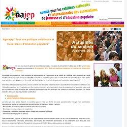 """Agorajep """"Pour une politique ambitieuse et transversale d'éducation populaire"""""""