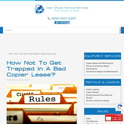 How Not To Get Trapped In A Bad Copier Lease?