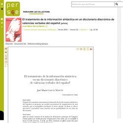 El tratamiento de la información sintáctica en un diccionario diacrónico de valencias verbales del español