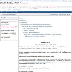 Code du travail - Article L2323-7-2
