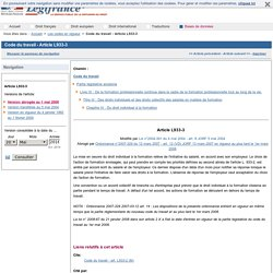 Code du travail - Article L933-3