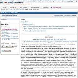 Code du travail - Article L932-1
