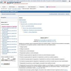 Code du travail - Article L2411-1
