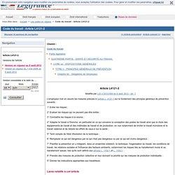 Code du travail - Article L4121-2