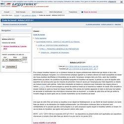 Code du travail - Article L4121-3-1