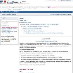 Code du travail - Article L6353-1