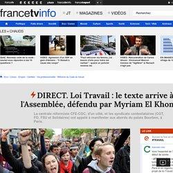 DIRECT. Loi Travail : le texte arrive à l'Assemblée, défendu par Myriam El Khomri