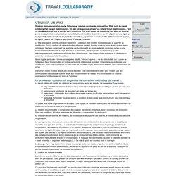 Travail collaboratif [Utiliser un wiki]
