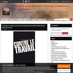 A propos de « Contre le travail » de Guiseppe Rensi, par Benoit Bohy-Bunel (Note de lecture)