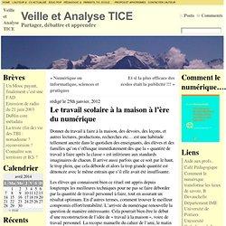 Le travail scolaire à la maison à l'ère du numérique « Veille et Analyse TICE