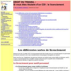Droit du travail : si vous êtes titulaire d'un CDI - Le licenciement