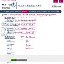 Travailler sur l'apprentissage de la compétence orale en Histoire-Géographie (2018 - 2019) > NUMERIQUE - Travailler sur l'apprentissage de la compétence orale en Histoire-Géographie