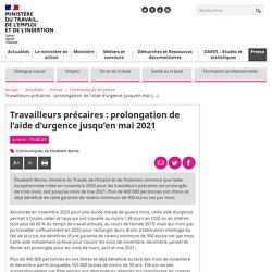 Travailleurs précaires : prolongation de l'aide d'urgence jusqu'en mai 2021