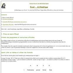 Excel - Travaux pratiques d'arithmétique au collège