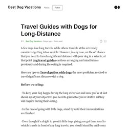 Travel Guides with Dogs for Long-Distance