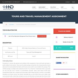 Tours Travel Management Assignment – HND Help