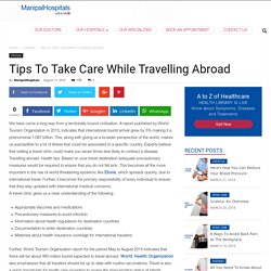 Travelling Abroad Health Tips