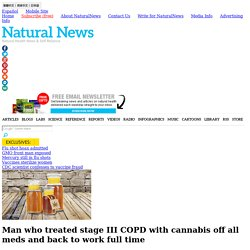 Man who treated stage III COPD with cannabis off all meds and back to work full time