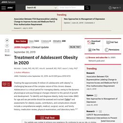 Treatment of Adolescent Obesity in 2020