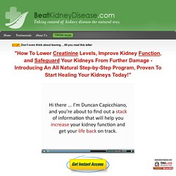 Kidney Disease - Kidney Treatment - BeatKidneyDisease.com - Home