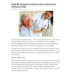 High BP treatment and how does critical care insurance help
