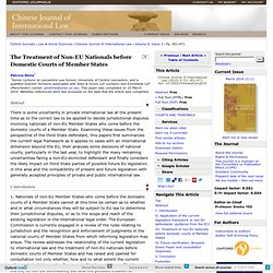 The Treatment of Non-EU Nationals before Domestic Courts of Member States