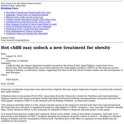 Hot chilli may unlock a new treatment for obesity