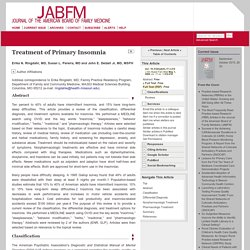 Treatment of Primary Insomnia