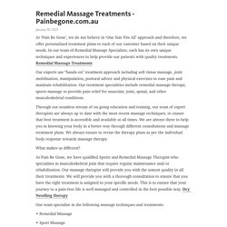 Remedial Massage Treatments