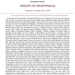 "a history of the peace of westphalia Herbert h rowen, the peace of westphalia revisited, the journal of modern history 33, no 1 (mar, 1961): 53-56 most read of all published articles, the following were the most read within the past 12 months ""going for an indian"": south asian restaurants and the limits of."