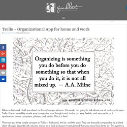 Trello – Organizational App for home and work