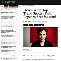 Here's What Top Trend Spotter Faith Popcorn Sees for 2016