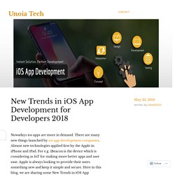 New Trends in iOS App Development for Developers 2018