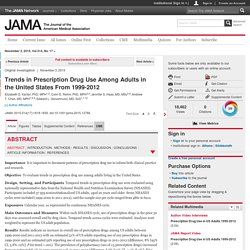 Trends in Prescription Drug Use Among Adults in the United States From 1999-2012
