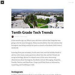 Tenth Grade Tech Trends — Product Design