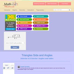 Triangle, Sides, Interior angles, Exterior angles, Degrees and other properties