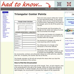 Triangular Center Points