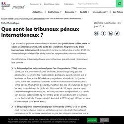 Tribunaux pénaux internationaux/ sous l'égide de l'ONU